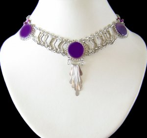 PURPLE SWING~ Silver Dangle Necklace Choker