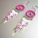 FUCHSIA Crystal Hand Woven Hippie Dreamcatcher Chandelier Earrings