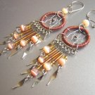 Brown Cat Eyes Hand Woven Hippie Dreamcatcher Chandelier Earrings
