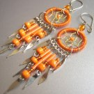 Orange Hand Woven Hippie Dreamcatcher Chandelier Earrings