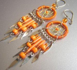 Orange Hand Woven Hippie Dreamcatcher Chandelier Earrings