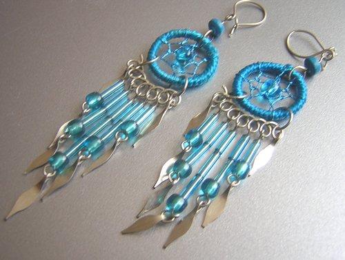 TURQUOISE Hand Woven Hippie Dreamcatcher Chandelier Earrings