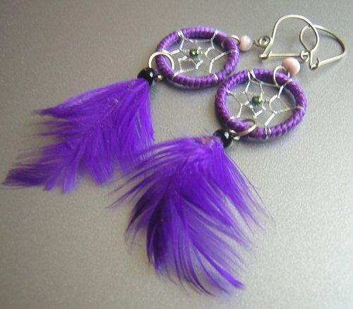 PURPLE Cat eyes Hand Woven Hippie Dreamcatcher Feather Earrings