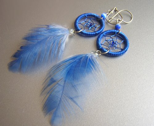 BLUE Cat eyes Hand Woven Hippie Dreamcatcher Feather Earrings