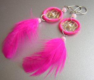 PINK Cat eyes Hand Woven Hippie Dreamcatcher Feathers Chandelier Earrings