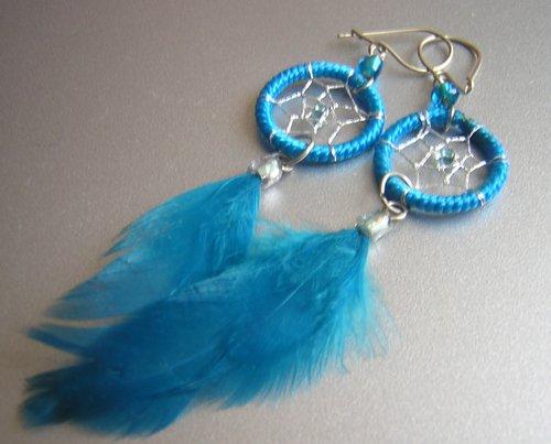 TURQUOISE Cat eyes Hand Woven Hippie Dreamcatcher Feathers Chandelier Earrings