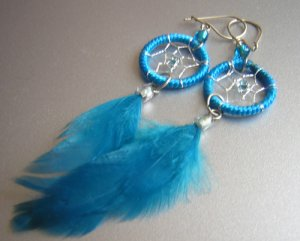 TURQUOISE Cat eyes Hand Woven Hippie Dreamcatcher Feathers Chandelier Earrings