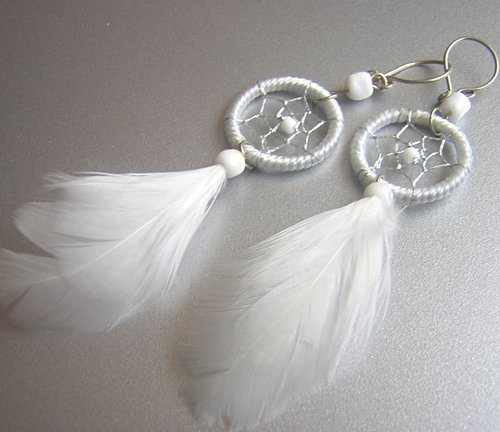 WHITE Hand Woven Hippie Dreamcatcher Feathers Chandelier Earrings