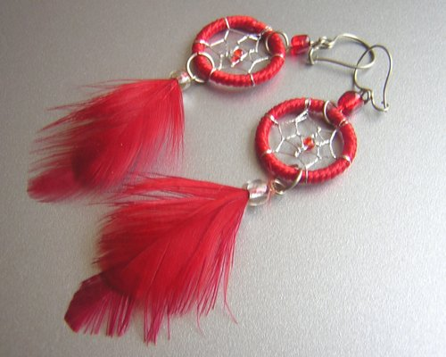 RED Hand Woven Hippie Dreamcatcher Feathers Chandelier Earrings