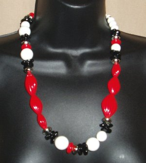 Vintage Lucite Necklace Red Black White NWT Chunky