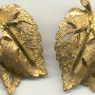 Vintage BSK  Goldtone Clip  Leaf Earrings 1940'-50's  Signed