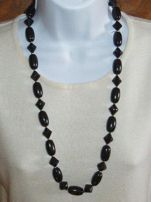 Vintage Black Bead Necklace  Lucite