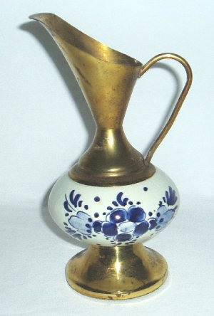 Vintage Ewer Brass & Blue and White Ceramic