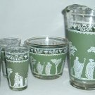 Vintage  Jeanette Glass Co Hellenic Pattern Green 6 pc. Set
