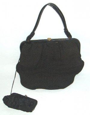 Vintage Black Fabric Purse & Coin Purse  Scalloped Edge  1940's