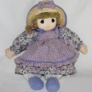 2006  Precious Moments Soft  Doll Purple Outfit Straw Hat