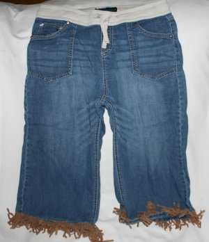 Vanilla Star Denim Capri Pants Brown Fringe   16
