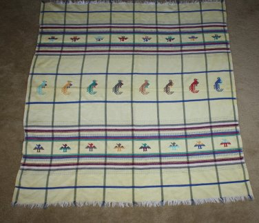 Vintage Wall Hanging Hand Stitched Birds Native American Style