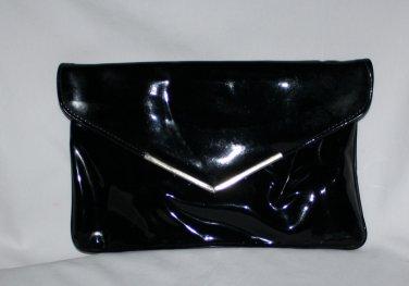 Vintage Black Patent Leather Clutch Purse Mad Men