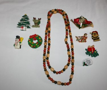 Vintage Christmas Jewelry Lot of 10  Pins & Necklace  Kids
