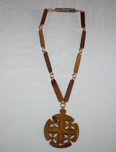 Vintage Wooden Necklace   Signed