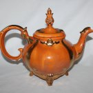 Vintage Orange Teapot Ornate Chic Mid Century