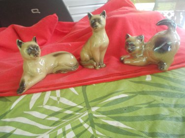 VINTAGE MADE BRAZIL CAT FIGURINES