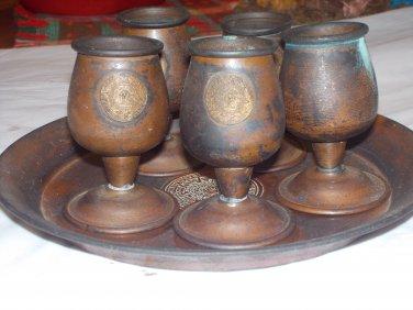 vintage copper tray & cup sets