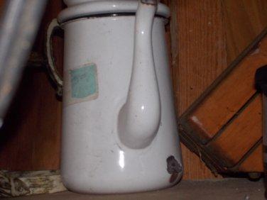 vintage white and black enamal coffee pot