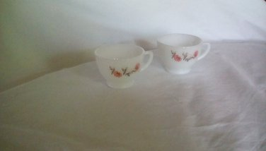 2 milk glass coffee cups white with pink flowers