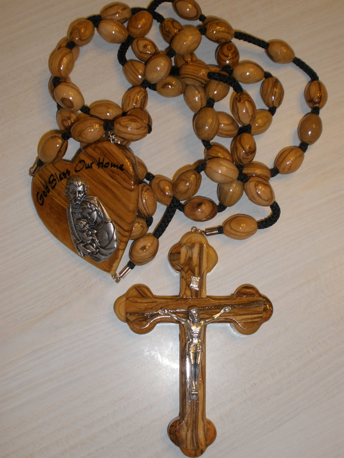 'God Bless Our Home' - Olive Wood Wall Rosary