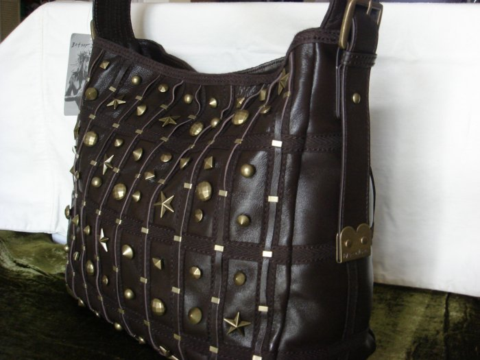 Betsey Johnson Lucky Stars Brown Leather Bucket Bag