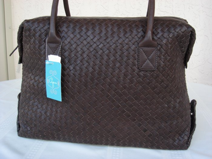 Brown All Leather Weave Shoulder Tote By Aqua