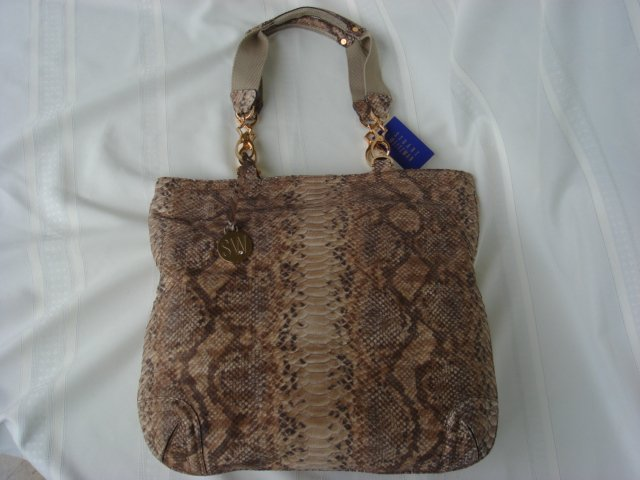 Beige Washed Boa Tote by Stuart Weitzman