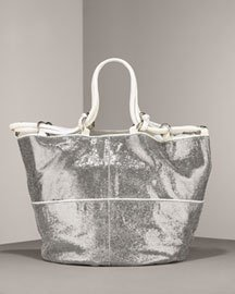 Kooba Silver Stella Metallic Leather Tote $600+