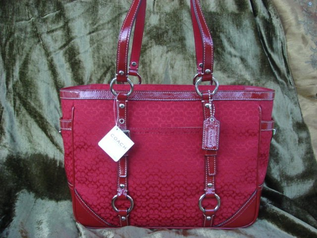 COACH Mini Signature Gallery E/W Cardinal Red Tote 12346