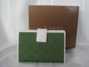 Gucci Green Signature Beige Leather Wallet $325+