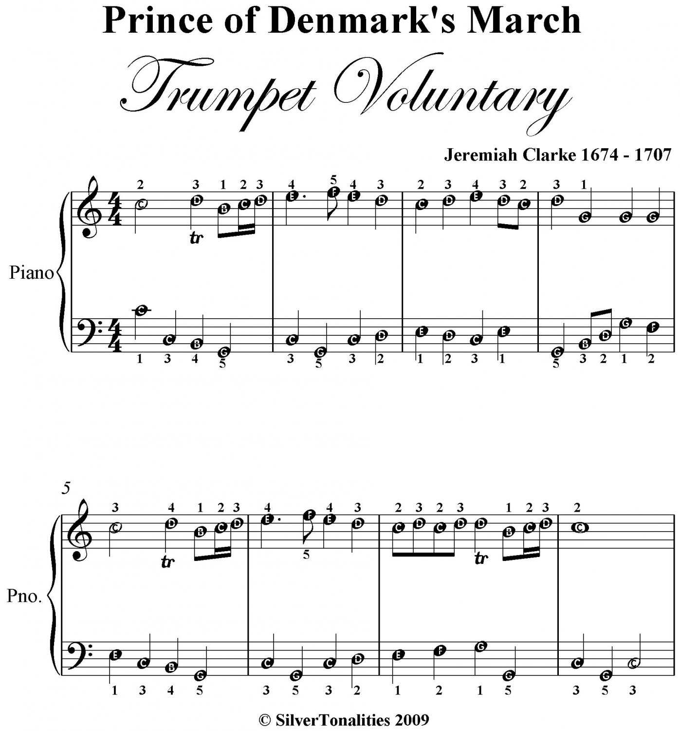 Prince Of Denmarks March Trumpet Voluntary Easy Piano Sheet Music Pdf