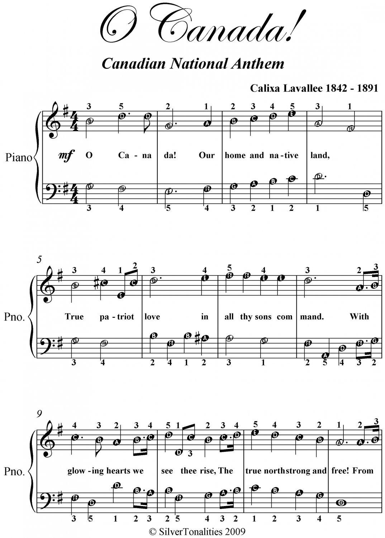O Canada Easy Piano Sheet Music PDF