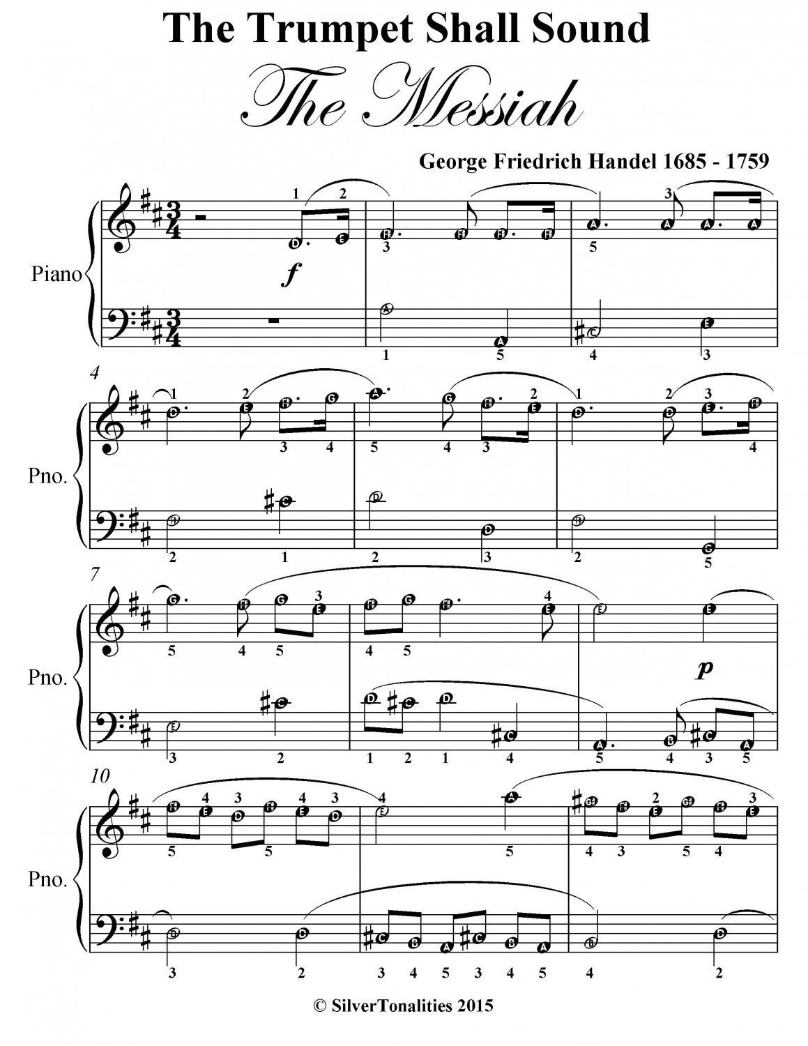 The Trumpet Shall Sound Easy Piano Sheet Music Pdf