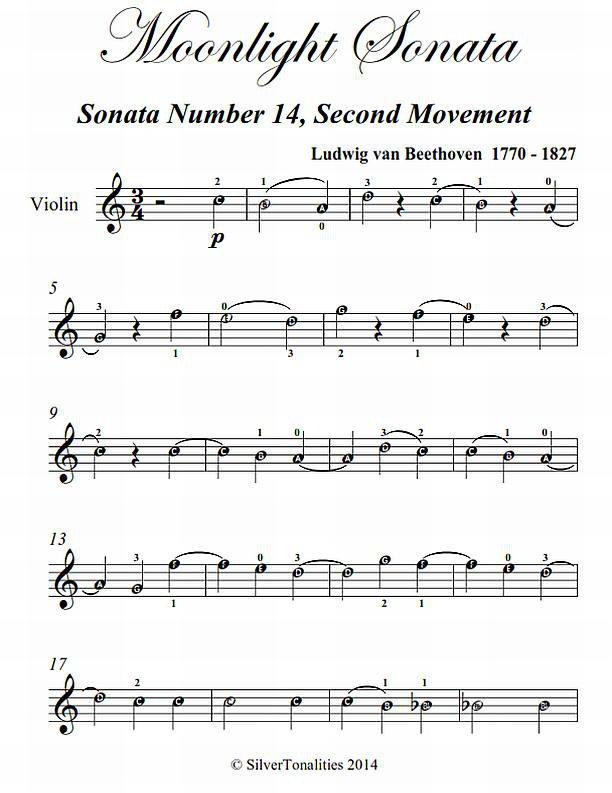 Moonlight Sonata Second Movement Easy Violin Sheet Music PDF