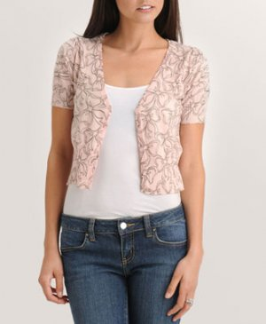 BNWT FOREVER 21 PINK FAB BOW CARDIGAN SWEATER JACKET SHRUG SMALL
