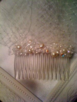 Elegant Blusher Veil With Freshwater Pearls and Swarovski Crystals