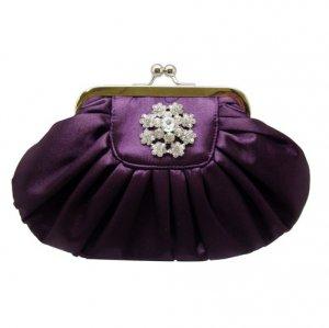 Purple Clutch with Rhinestone Flower