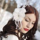 Double Bloom White Headpiece ,Bride