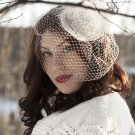 GORGEOUS IVORY BEADED BIRDCAGE VEIL FASCINATOR IDEAL FOR WEDDINGS