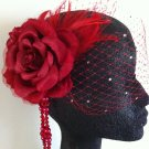 Elegant red birdcage veil,fascinator,headpiece, wedding