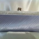 Silver Satin Bridal Clutch with Rhinestones