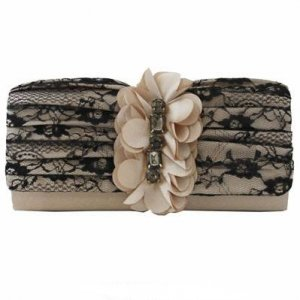 Champagner Satin And Black Lace Clutch with Rhinestones