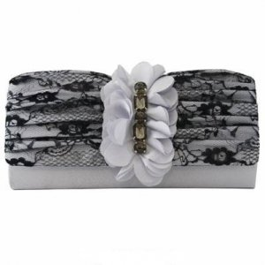Silver Satin And Black Lace Clutch with Rhinestones